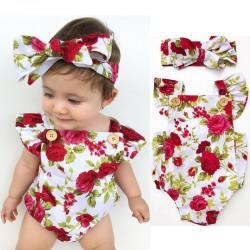 Floral baby girl jumpsuit & headband - cotton set - 2 pieces