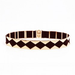 Elegant elastic belt with golden triangles