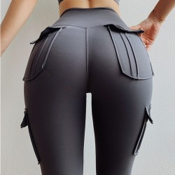 High waisted leggings - slim pants with pockets