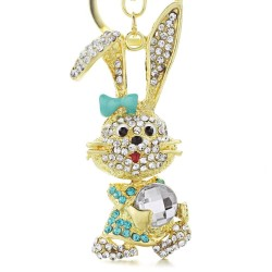 Gold & crystal bunny rabbit keychain