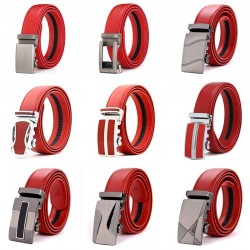 Genuine leather belt with automatic buckle - red