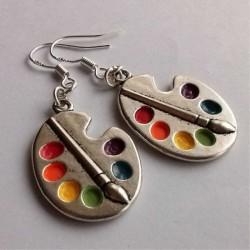 Artist palette - silver brush - silver earrings