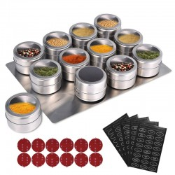 magnetic spice jars with wall mounted rack stainless steel - spice tins spice seasoning containers with spice label