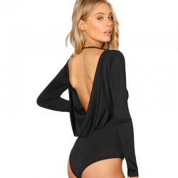 Long sleeve bodysuit with a draped open back