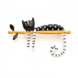 lazy cat sitting on the tree enamel brooches - women and men bouquet pin