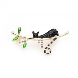 black cat sleeping on the tree enamel brooches