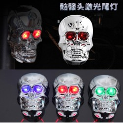 skull head shape cycling bike bicycle 2 laser beam and 5 led rear tail light - safety bicycle rear light