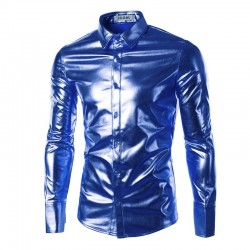 purple coated metallic night club wear shirt - men long sleeve button down mens dress shirt shiny elastic chemise homme