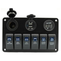 6 Gang 12V switch panel - 5V Dual USB - digital voltmeter