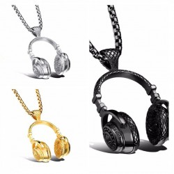 Headphone Necklace - Black/Gold/Silver