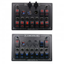Rocker switch panel - 12V - 10-gang - LED - cigarette lighter - waterproof for car - boat - truck