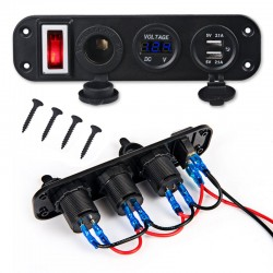 Toggle switch panel - 5V - 4.2A - dual USB - 12V - LED - Voltmeter for cars - boats - trucks