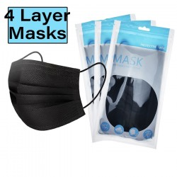 4-layer disposable antibacterial surgical face mask - mouth mask - 10 pieces - black