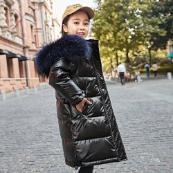 Long - warm winter jacket with fur hood - for girls