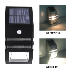 Solar LED Light - Outdoor - Motion Sensor - Stainless Steel - Black - White