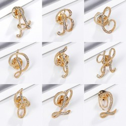 Gold Color - 26 English Letters - Rhinestone Crystal Brooches