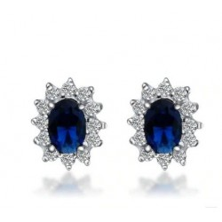 Luxurious earrings with crystals - 925 sterling silver