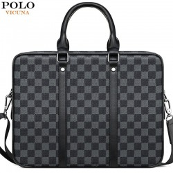 Classic business bag - plaid leather - briefcase
