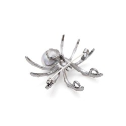 White spider with pearl - elegant brooch