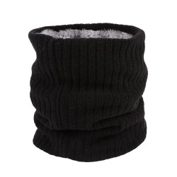 Knitted warm scarf with plush - unisex