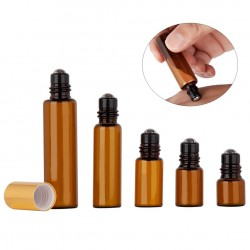 5ML - 10ML - Amber Roll Glass - Roller Bottle