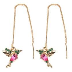 Elegant long earrings with crystal birds