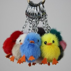 Fluffy furry pom pom with chicks - keychain