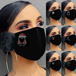 2 in 1 - face / mouth mask with earmuffs - Christmas print