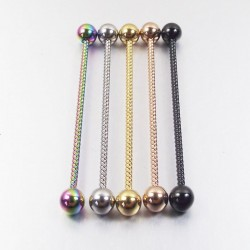 Twisted industrial barbell - body piercing - stainless steel - 38mm