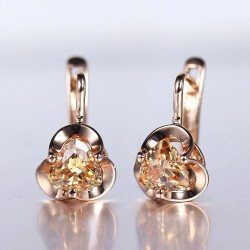 Earrings with flower & yellow crystal - rose gold