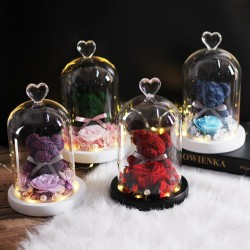 Eternal preserved rose with teddy bear in glass - LED