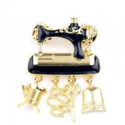 Black sewing machine - pin - brooch
