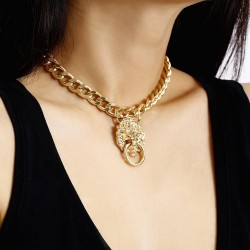 Gold lion head - pendant necklace
