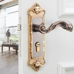 Vintage door handles with security lock - 2 pieces set