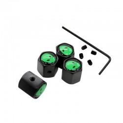 Stainless steel car wheel valve caps - green aliens - 4 pieces