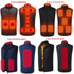 2 / 4 / 8 / 9 places - USB - infrared heated jacket - thermal vest - unisex
