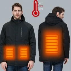 USB - heated thermal jacket with hood / zippers - waterproof