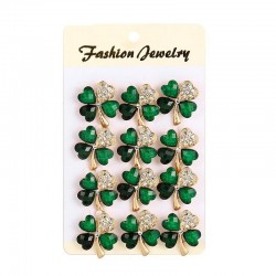Four crystal green leaves - brooches - 12 pieces set
