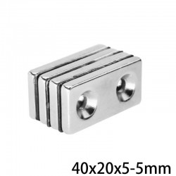 N35 - neodymium magnet - with double 5mm hole - 40 * 20 * 5mm - 1 - 30 pieces