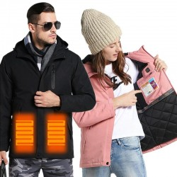 USB - heated thermal jacket with hood / zippers - waterproof