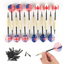 National flag darts - soft plastic tips - 12 pieces set