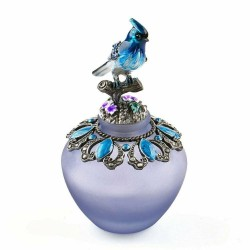 Vintage handmade glass perfume bottle - refillable - blue bird - 40ml
