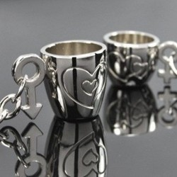 Engraved heart cups - keychain for couples - 2 pieces