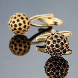 Golden ball with black crystals - cufflinks - 2 pieces