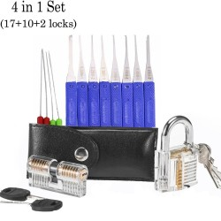 Transparent locksmith set - locks - picks - keys