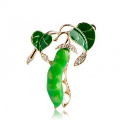 Green peas with pearls - crystal brooch
