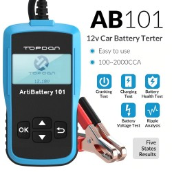 AB101 - 12V - 100 to 2000 CCA - car battery tester - diagnostic tool