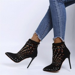 Suede studded pumps - high heels with a back zipper
