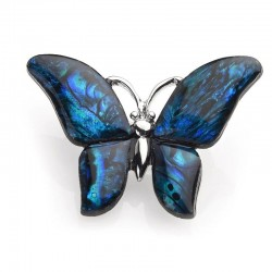 Blue shell - brooch with a butterfly