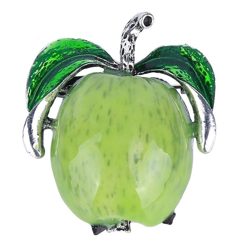 Red / green apple - elegant brooch